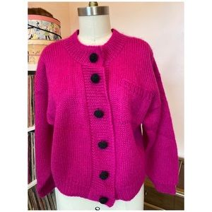 """VIBRANT"" 80's Wool & Mohair Hand Knit Cardigan"